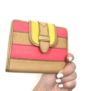 Fossil Tan, Pink, & Neon Striped Leather Wallet